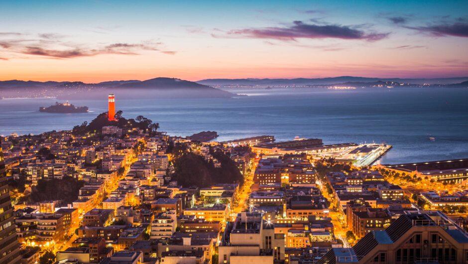 Coit Tower, Alcatraz and Part of San Francisco Bay